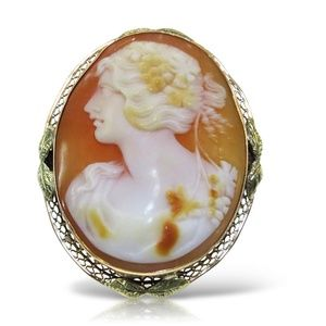 14k Vintage Cameo Brooch/Charm 2 inch Size